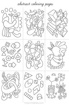 Children's imagination can really thrive on abstract shapes and patterns. We have created a selection of abstract coloring pages with our original drawings they can enjoy. Abstract Coloring Pages, Colouring Pages, Adult Coloring Pages, Coloring Books, Coloring Sheets, Mandala Coloring, Printable Art, Free Printables, Printable Coloring