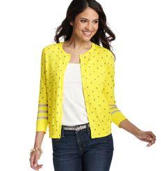 Loft - LOFT Petite Tops - Petite Dot and Stripe 3/4 Sleeve Pima Cotton Cardigan
