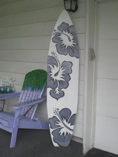 6 Foot Wood Hawaiian Surfboard Wall Art Decor or Headboard kids room black and white
