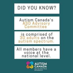 Our #ASD Advisory Committee helps #AutismCanada work more effectively in ensuring appropriate resources and supports are in place. We not only invite our committee members to place a spotlight on issues but we invite them to provide potential solutions and to be included in the decision making.  #AC40 #autism #aspergers #spectrum #autismawareness #autismacceptance #didyouknow #collaboration #advocacy #support #hope #sunday #board