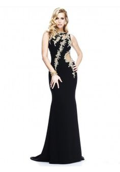 A-line Bateau Sleeveless Elastic Woven Satin Prom Dresses With Appliques #FP259