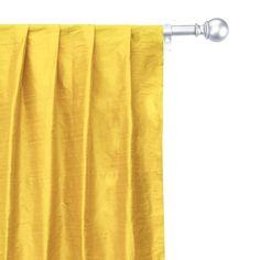 Faux Silk Curtains, Custom Curtains, Drapery Panels, Panel Curtains, Yellow Fabric, Silk Fabric, Types Of Window Treatments, Box Pleats, Bright Yellow