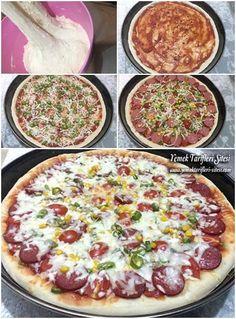 1 Tepsilik Pizza Tarifi Spanish Bread, Pizza Sandwich, Afternoon Snacks, Greek Recipes, Hawaiian Pizza, Pepperoni, Sandwiches, Food And Drink, Cooking