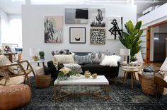 Wayfair Registry // A modern boho living room with the coziest throw pillows, cool blue tones and luxe leather.