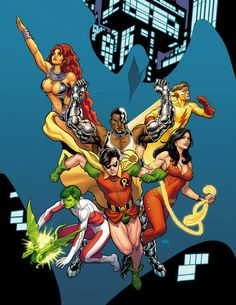 Teen Titans (poster for Baltimore Comic Con 2014) by Frank Cho *
