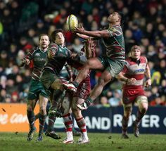 LEICESTER, ENGLAND - DECEMBER 29: Manu Tuilagi of Leicester catches the high ball during the Aviva Premiership match between Leicester Tigers and Gloucester at Welford Road on December 29, 2012 in Leicester, England. (Photo by David Rogers/Getty Images)