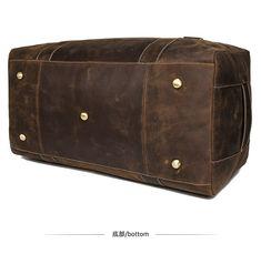 "Men Travel Bag Duffle Large Capability Genuine Leather 27"" Weekend Bags Man Tote Business Vintage Designer Handbag Bag Mens Weekend Bag, Weekend Bags, Handbags For Men, Leather Handbags, Leather Bag, Duffle Bag Travel, Travel Bags, Men's Totes, Designer Handbags"