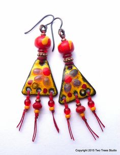 Summery and bright Boho earrings, by Two Trees Studio.