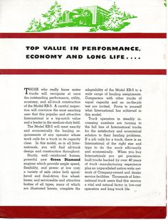 KB-5 is a 1 1/2 ton truck brochure. This is page 3.