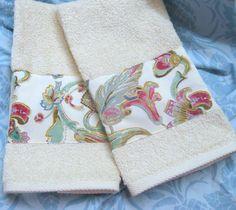 Custom Hand Towels DECORATED W/ Ralph Lauren fabric ANTIQUA