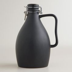 Matte Black Ceramic Beer Growler from Cost Plus World Market's New Woodland Retreat Collection >> #WorldMarket Home Decor Ideas