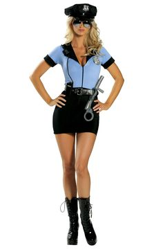Police Costume Includes Zipper Front Mini Dress, Belt, Hat, Badge, Handcuffs, Baton, And Walkie-Talkie. Shop this now - YourLaMode #sexy #cop #costumes #women #clothing