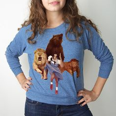 Lion Tiger Bear Pullover Women's, $22, now featured on Fab.