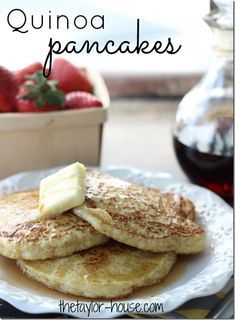 Quinoa Pancakes and 12 Deliciously Healthy Quinoa Recipes -- I'd use sprouted whole wheat flour instead of all-purpose, sea salt instead of table salt, and coconut crystals instead of sugar, in the pancakes recipe.