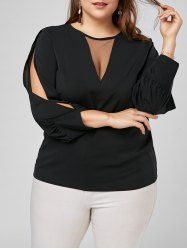 Mesh Trim Split Long Sleeve Plus Size Top