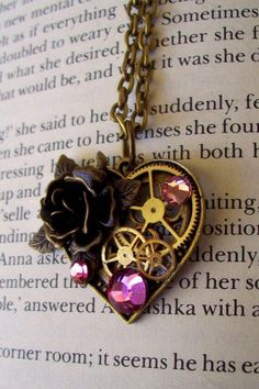 Steampunk Heart Necklace Victorian Brass by DesignsByFriston Steampunk Heart, Steampunk Necklace, Victorian Goth, Gothic, Steampunk Wedding, Bijoux Diy, Steampunk Fashion, Swarovski Crystals, Jewelery