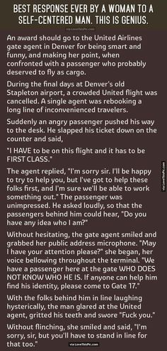 Best Response Ever By A Woman To A Self Centered Man... funny jokes story