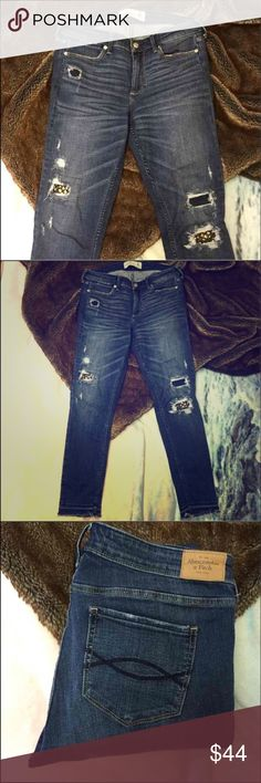 Abercrombie Super Skinny Abercrombie & Fitch embellished super skinny jeans in destroyed medium wash. Worn 2-3 times. Like new. Sold out. Abercrombie & Fitch Jeans Skinny