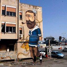 """Lillo il Marinaio""  SeaCreative! - ""Distrart - DiStretto d'Arte Urbana"", Messina, Sicily, Italy.  #seacreative #distrart #distrettodarteurbana #messina #sicily #italy #graffiti #streetart #urbanart #elgraffiti #art #mural @seacreative"