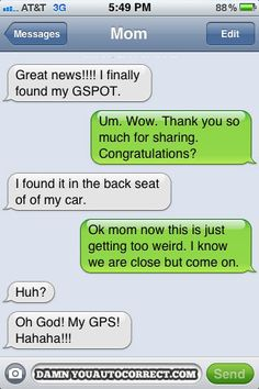 If you ever make mistakes when texting you will love reading these, I laughed so much it hurts! funny auto-correct texts - My Top 25 Favorite Autocorrect Fails Funny Sms, Funny Text Messages, The Funny, Funny Jokes, Hilarious Texts, Stupid Funny, Damn Autocorrect, Best Autocorrect Fails, Auto Correct Texts