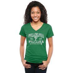 Women's Philadelphia Phillies Green St. Patrick's Day Blarney Tri-Blend V-Neck T-Shirt