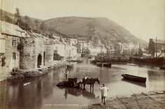 Inner harbour, Polperro, Cornwall 1888 Photograph: The Historic England Archive Devon And Cornwall, Cornwall England, History Of England, British History, Old Photos, Vintage Photos, Polperro Cornwall, Victorian London, Victorian Era