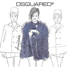 #MFW Dsquared2 fall/winter 14 || fashion illustration report by Mairanny Batista || Milan Fashion Week || mairanny.com #Dsquared2 #fall14 #fashionweek