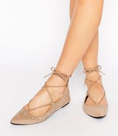 nude studded lace-up flats