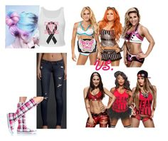 """Ringside for Charlotte, Becky Lynch and Natalya VS. Brie Bella, Alicia Fox and Nikki Bella."" by jamielynnstyles17 ❤ liked on Polyvore featuring Hollister Co."