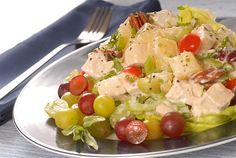 Chicken salad with grapes, nuts and capers. Recipe: http://wonderdump.com/chicken-salad/