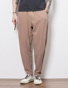 DONOO 2017 Linen Cotton Blended men casual pants baggy and comfortable Large Size sweatpants Male Trousers Chinese style Mens Linen Outfits, Stylish Mens Outfits, Loose Fit, Drop Crotch Jeans, Casual Pants, Men Casual, Tactical Cargo Pants, Harem Pants Men, Tapered Trousers