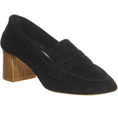 Office Mockingbird Block Heel Loafers (140 NZD) ❤ liked on Polyvore featuring shoes, loafers, black suede, mid heels, women, black suede loafers, mid heel loafers, block heel loafers, loafers moccasins and loafer shoes