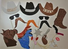 I would make my own.... doesn't have to be paper either A Bride On A Budget Photo booths are so fun for weddings. You can make your own, though, with these Western Theme Photo Booth Props. The 22 piece set comes with hats, bandannas, mustaches, and more. Plus, you ca have the photos as your wedding favors, making it really easy for you. Purchase here for $49.99.