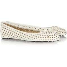 Jimmy Choo Walsh perforated leather ballet flats ($150) ❤ liked on Polyvore featuring shoes, flats, ballerine, jimmy choo, leather ballet flats, slip-on shoes, white slip on shoes, white ballet flats and flat shoes