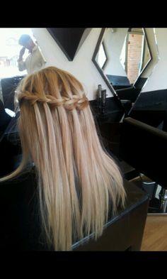 Waterfall plat on straight hair