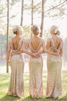 gold bridesmaid dresses #goldbridesmaiddresses @weddingchicks