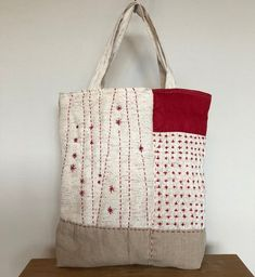Sashiko Embroidery, Hand Work Embroidery, Japanese Embroidery, Hand Embroidery Designs, Patchwork Bags, Quilted Bag, Sewing Crafts, Sewing Projects, Boro Stitching