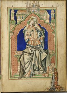 Virgin and Child with  Lady de Quincy in margin [LPL MS 209 f. 48]