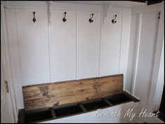 bench under folding table?Mudroom Shoe Storage Bench Organizing Your Heart and Home – My Laundry Room Diy Entryway Storage, Storage Spaces, Entryway Hooks, Narrow Entryway, Entryway Ideas, Storage Ideas, Foyer, Shoe Room, Room Closet