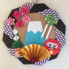 正月飾り 折り紙 ハンドメイド リース - ヤフオク! Diy Origami, Origami Wreath, Origami Cards, Origami Paper Art, Diy And Crafts, Crafts For Kids, Arts And Crafts, Paper Crafts, New Year Diy