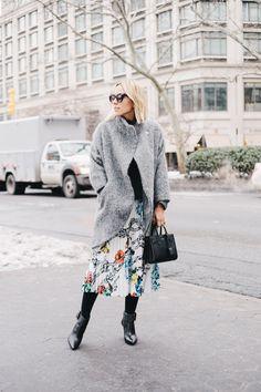Damsel in Dior | Tibi Printed Skirt; Reformation Grey Alpaca Sweater; Sigerson Morrison Booties; Saint Laurent Baby Sac du Jour; Zimmermann Cocoon Coat