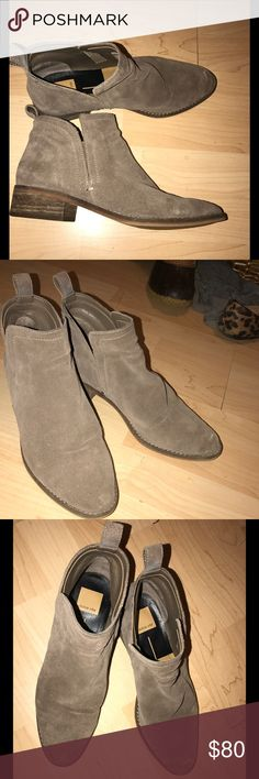 Dolce Vita Tessey Booties Size 8, grey suede booties! Worn 2-3 times, so lots of use left in them. There is a slight salt mark on the toe, which you can see in the picture, but it can easily be removed! Dolce Vita Shoes Ankle Boots & Booties
