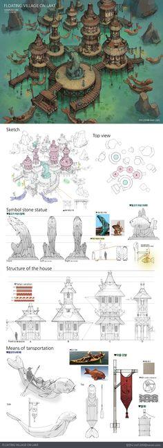 ArtStation - Floating villge on lake , IML (Lim hannah), Fantasy City, Fantasy Map, Fantasy Places, Fantasy Kunst, Fantasy World, Fantasy Art Landscapes, Fantasy Landscape, Environment Concept Art, Environment Design