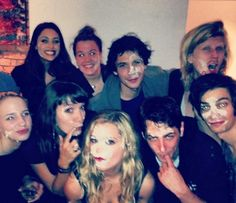The 100 party || Lindsey Morgan (Raven Reyes), Eliza Taylor (Clarke Griffin), Bob Morley (Bellamy Blake) and Devon Bostick (Jasper Jordan) || The 100 cast
