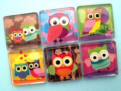 These are cute magnets. Glass Magnets, Diy Magnets, Glass Texture, Cute Crafts, Fused Glass, Owls, Handmade Gifts, Clothespins, Etsy