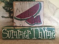 Primitive Country Watermelon Slice Summer Thyme 2 pc Shelf Sitter Wood Block Set #PrimtiiveCountry