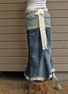 Hame vanhoista farkuista, kierrätysompelu. Long skirt from old jeans. recycling. sewing.