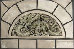 Decorative handmade ceramic tile: Decorative handmade Relief carved ceramic dragon tile