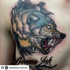 #Repost @eddieborneoink with @repostapp  Neo trad wolf on @nikkkely .Thks buddy ! #eagleviewtattooproducts #iwasborneoinked #borneoinktattoos #tattoodo #tattoo #neotraditional #neotraditionaltattoo #neotrad #newtraditionalgallery #tattoolifemagazine #tatowiermagazin