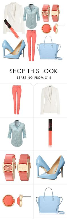 """""""Business world"""" by j-hadzic ❤ liked on Polyvore featuring Oui, Maison Margiela, LE3NO, NARS Cosmetics, Salvatore Ferragamo, Penny Loves Kenny, Monet and Kate Spade"""